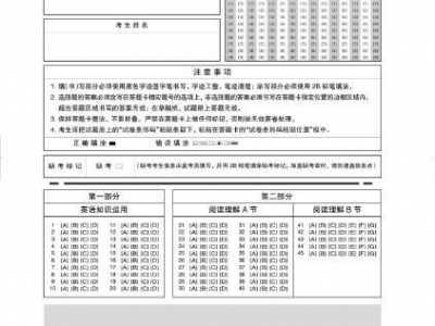 考研英语答题卡 2017年考研英语一答题卡样卡